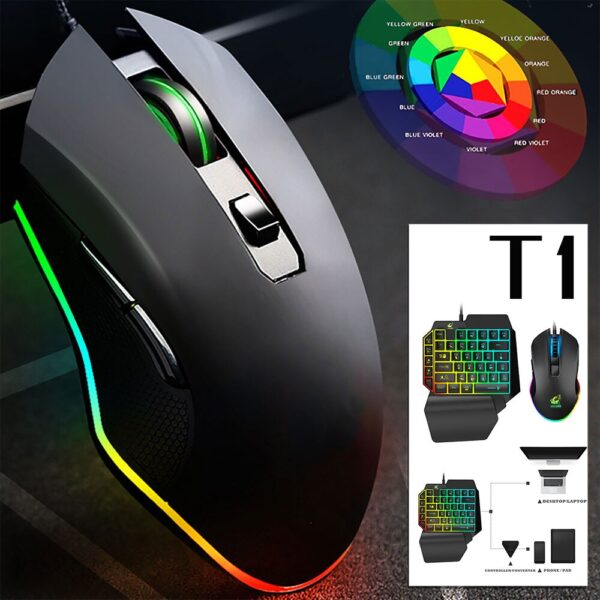 Willkey T1 Keyboard Mouse Combos Ergonomic Multicolor Backlight One-Handed Game Keyboard Mouse Set For Home Gamer Gaming Kit