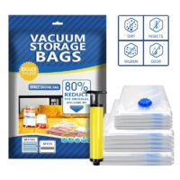 1Set Reusable Vacuum Storage Bag Space Saving Seal Vacuum Bags For Clothes Zip Lock Compressed Travel Storage Bag With Hand Pump