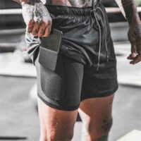 Double layers Running Shorts Men 2 in 1 Short Pants Jogging Gym Fitness Training Outdoor Sport Quick dry Summer Beach Sportswear