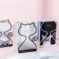 Sharkbang 2PCS/Pair Kawaii Rabbit Cat Metal Book Holder Desktop Bookends Desk Organizer Stand Shelf Office School Stationery