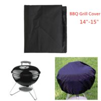 Black BBQ Grill Cover Fits Stand-Up Charcoal Grill Serving Outdoor BBQ Grill Cover Round 14~15 inch Waterproof Rotisserie Part