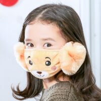 Cute 2 In 1 Outdoor Winter Baby Girl Boy Face Mask Earmuff Use For Sports Camping Hiking Riding