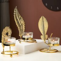 Imitation Copper Alloy Candle Holders Party Wedding Decorations Candlestick Gold Metal Plant Leaves Candelabra Table Centerpiece
