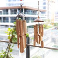Coconut Wood Handmade Bamboo Wind Chimes Big Bell Tube Wind Chime Home Decor