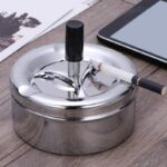 Smoking Accessories Stainless Steel Ashtray Round Push Down Cigarette Ashtray with Rotating Tray