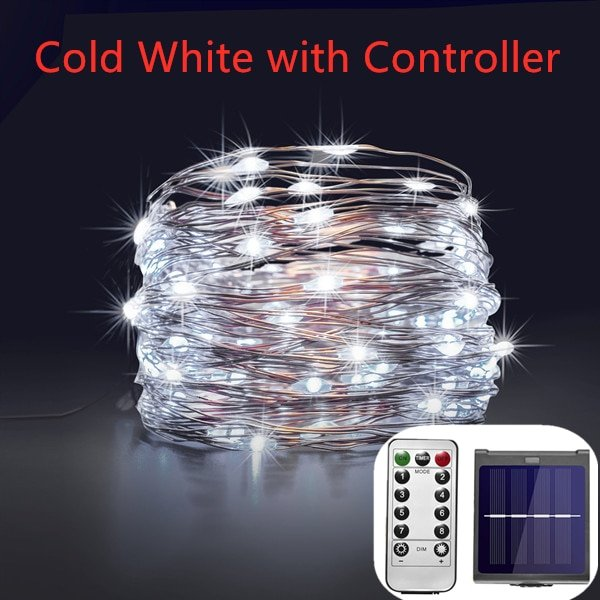 RF Dimmable 11m/21m/31m/51m LED Outdoor Solar String Lights Fairy Holiday Christmas Party Garland Solar Garden Waterproof Light