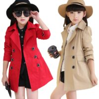 Girls Button Windbreaker Jacket Children Clothing Girl's Trench Coats Autumn Winter Trench Wind Dust Outerwear Kids School Wear