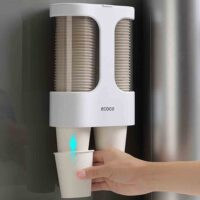 Water Dispenser Cup Holder Disposable Cup Holder Automatic Cup Storage Rack Cups Container Holder Pull Type Dispenser Shelf