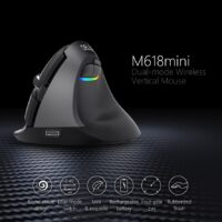 Delux M618 Mini Bluetooth 4.0+2.4GHz Dual mode Wireless Mouse Ergonomic Rechargeable Silent click Vertical Mice For Computer