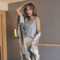 Autumn Ladies Pajama Set Cotton Satin Sleep Set Cardigan+Vest+Pants+Shorts Floral Print Elegant Femme Tender Sleepwear Homewear