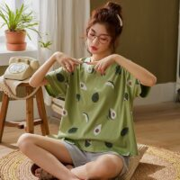 BZEL Green Sleepwear Sets For Women Lovely Avocado Pattern Pajamas 100% Cotton Short Home Wear Hot Sale Femme Underwear Pijamas