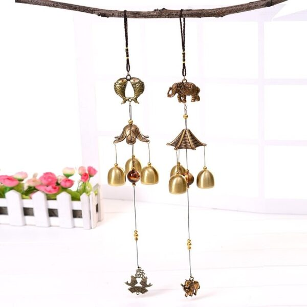 1Pcs Antique Wind Chime Copper Yard Garden Outdoor Living Decoration Metal Wind Chimes Outdoor Chinese Oriental Lucky Metal Win