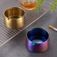 Creative Stainless Steel High Temperature Drop Resistant Ashtrays Round Living Room Desk Office Desk Ash Storage Tray Box31