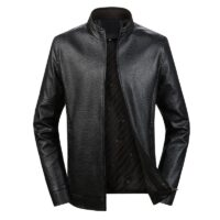 FGKKS Autumn New Men PU Leather Jacket Men's Fashion Stand Collar Solid Color Leather Jacket Male Casual Wild Leather Jackets