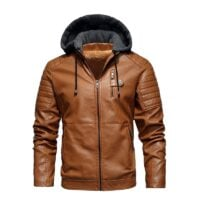FGKKS 2020 New Men Hooded Leather Jacket Winter Brand Men Plus Velvet Thick Warm Leather Suede Coat Male PU Leather Jackets