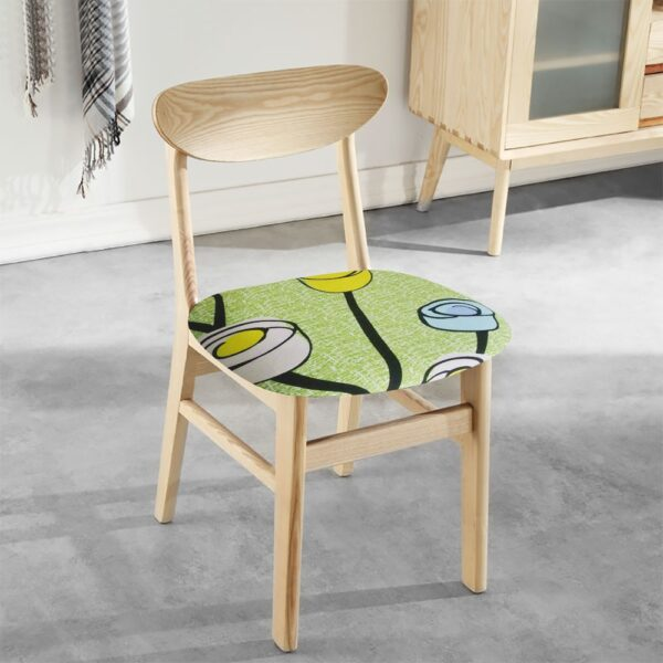 Chair Seat Protector Covers Printed Kitchen Stretch Dining Chair Cover Removable Elastic Seat Case Living Room Slipcover Stretch