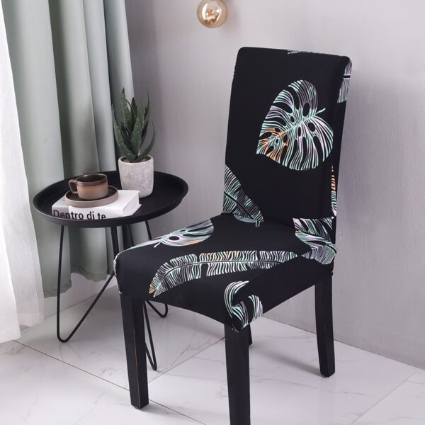 black geometric chair cover spandex for dining room universal size elastic material