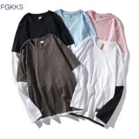 FGKKS New Men's Long Sleeve T Shirt High Street Round Neck Men Bottoming Male Stitching Long Sleeve T Shirt Casual Pullover