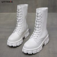 LITTHING 2020 Spring Women White Boots Autumn Fashion Black Leather Platform Boots Punk Combat Mid-Calf Boots for Women