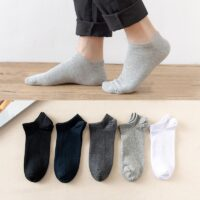 5 Pairs / Pack Men's Bamboo Fiber Socks Short High Quality New Casual Breatheable Anti-Bacterial Man Ankle Socks Men